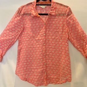 Anthropologie long sleeves button down pink shirt